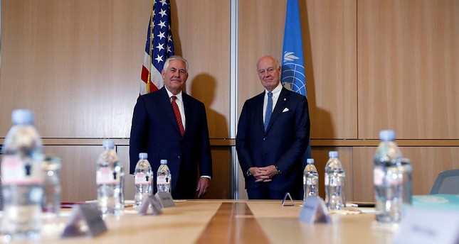 Secretary of State Rex Tillerson, left, stands with U.N. Special Envoy for Syria Staffan de Mistura before their meeting at the U.S. Mission to the U.N., Thursday, Oct. 26, 2017. (AP Photo)