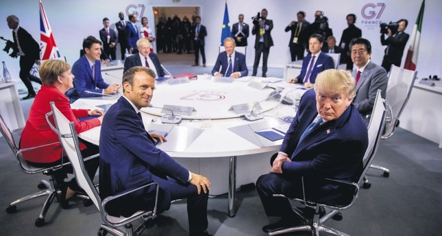 The leaders of the G7 members during a session at the G7 summit, Biarritz, France, Aug. 25, 2019.