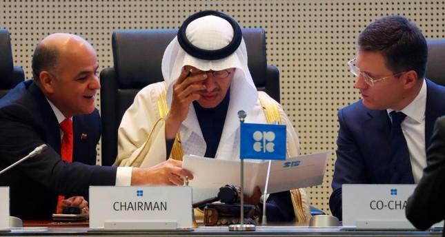 Venezuelan Oil Minister Manuel Quevedo L, Saudi Energy Minister Prince Abdulaziz bin Salman Al Saud C and Russia's Energy Minister Alexander Novak are seen at the beginning of an OPEC and non-OPEC meeting in Vienna, Dec. 6, 2019. Reuters Photo