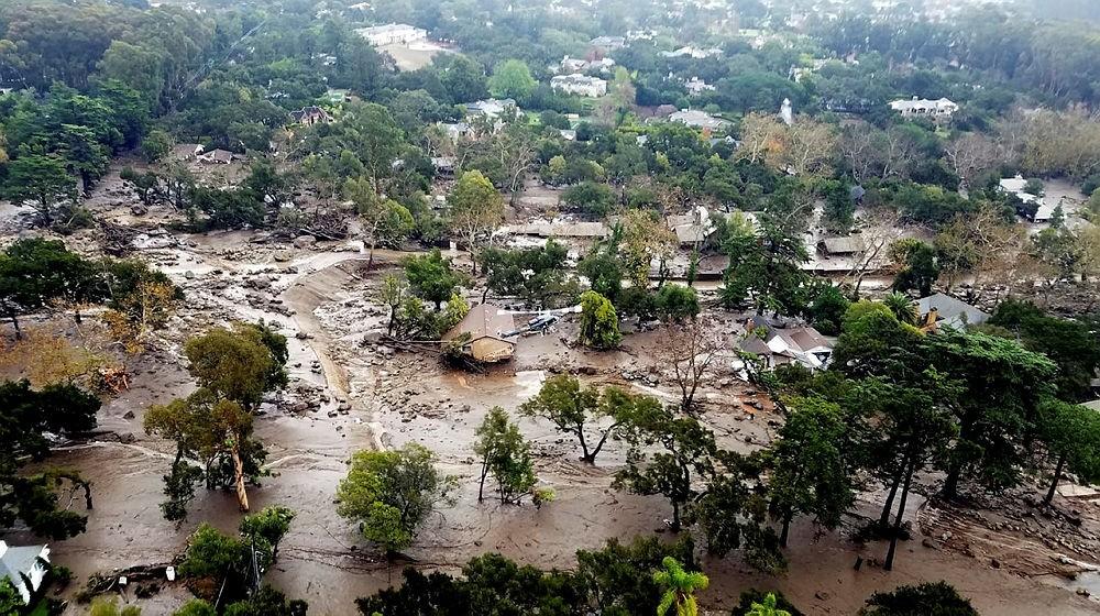 Mudflow and damage following heavy rains in Montecito, California, USA, 10 January 2018. (EPA Photo)