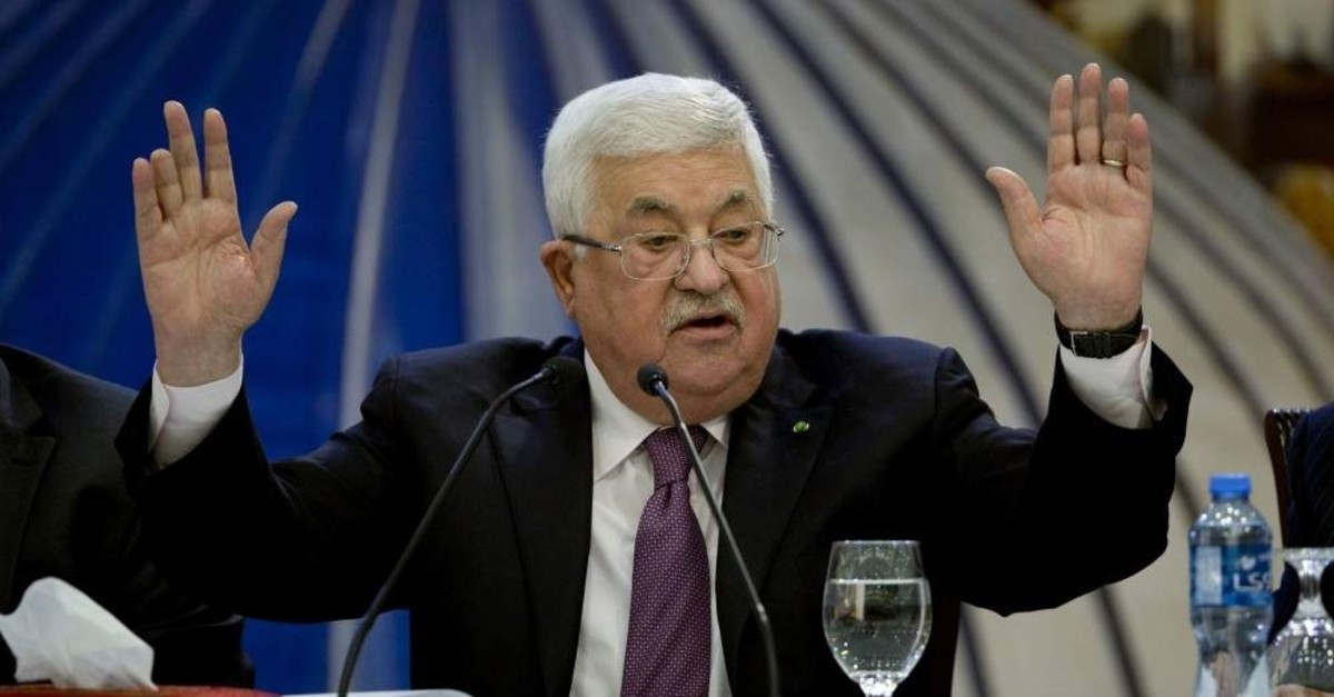 Palestinian President Mahmoud Abbas speaks after a meeting of the Palestinian leadership in the West Bank city of Ramallah. Tuesday, Jan. 22, 2020. (AP Photo)