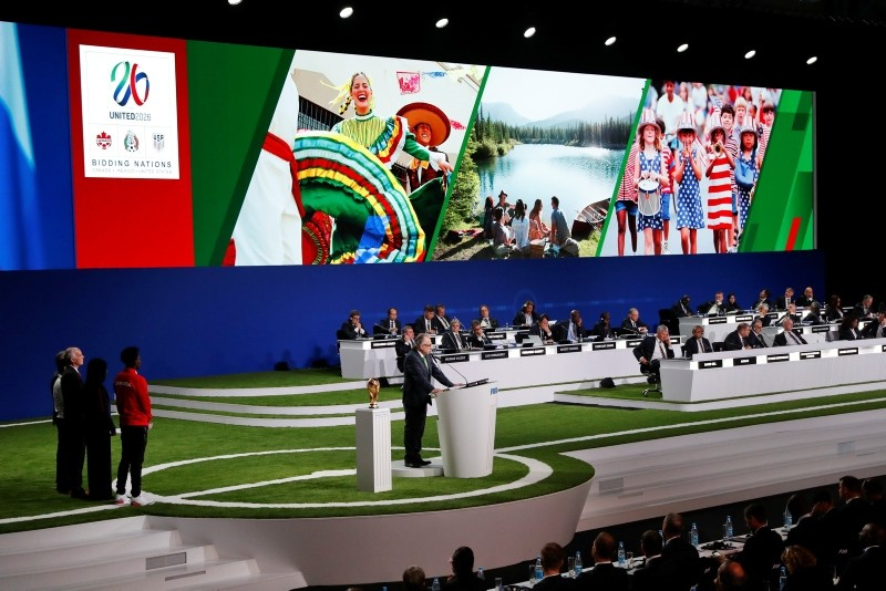 Decio de Maria, President of the Football Association of Mexico, presents a joint United bid by Canada, Mexico and the United States to host the 2026 World Cup at the FIFA congress in Moscow, Russia, Wednesday, June 13, 2018. (AP Photo)