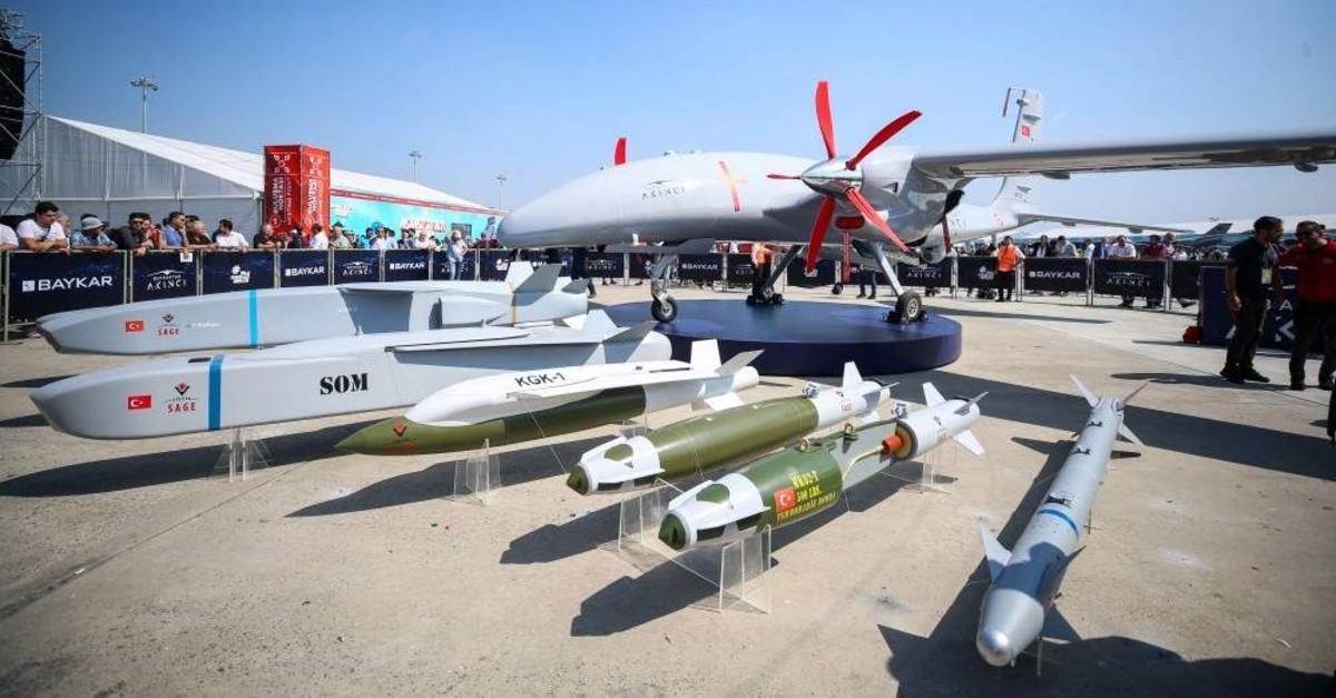 Baykar Makinau2019s latest twin-engine armed drone Aku0131ncu0131 on display at Turkeyu2019s largest aerospace and tech festival, TEKNOFEST Istanbul, Sept. 18, 2019.