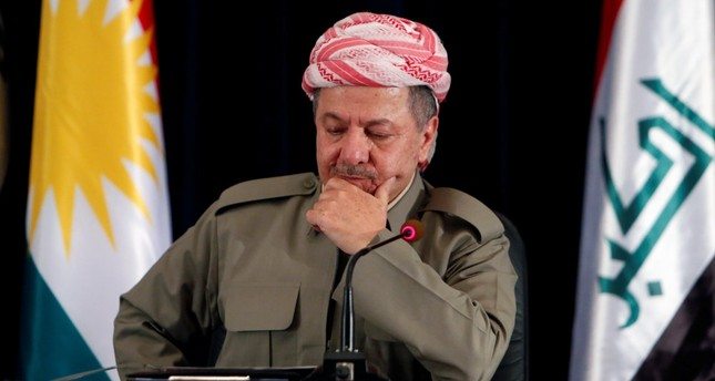 KRG President Masoud Barzani speaks during a news conference in Irbil, Iraq, Sept. 24.