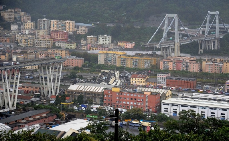 The collapsed Morandi Bridge is seen in the Italian port city of Genoa August 14, 2018. (Reuters Photo)