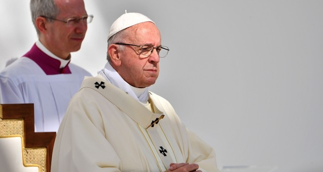 Pope Francis leads mass for an estimated 170,000 Catholics at the Zayed Sports City Stadium on February 5, 2019. (AFP Photo)