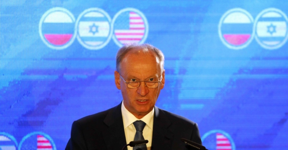 Nikolai Patrushev, secretary of the Russian Security Council, speaks during a trilateral summit between the US, Israel and Russia, in Jerusalem, June 25, 2019. (AFP Photo)