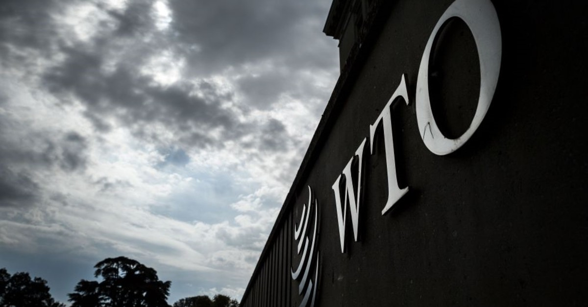 The logo of the World Trade Organization (WTO) is seen at their headquarters in Geneva, Sept. 21, 2018.