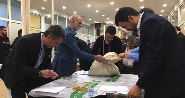 Representatives from the YSK and political parties recount invalid votes of the March 31 elections in Şişli district, Istanbul, April 5, 2019.