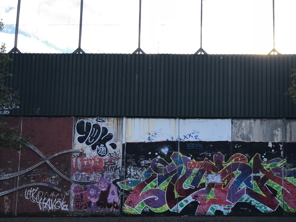 One of the many peace walls in Belfast.