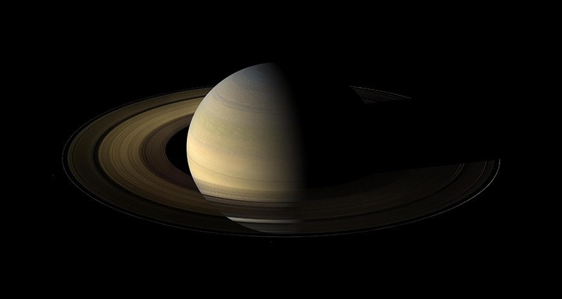 This Aug. 12, 2009 composite image made available by NASA shows Saturn in equinox seen by the approaching Cassini spacecraft. Saturn's equinox occurs only once in about 15 Earth years.