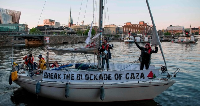 The Palestine, part of the Ship to Gaza, with five persons onboard leave Stockholm with destination Gaza to try to break Israel's blockade on Gaza on May 15, 2018. (AFP Photo)
