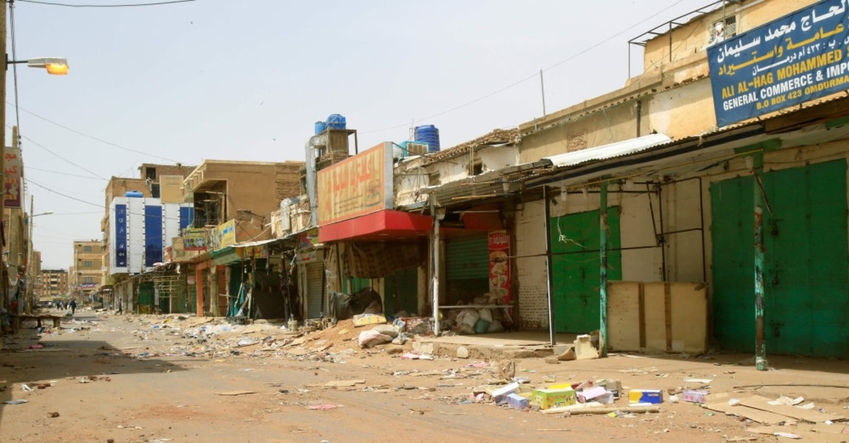 Closed shops at the Omdurman market in Sudanese capital Khartoum's twin city,  June 8, 2019.