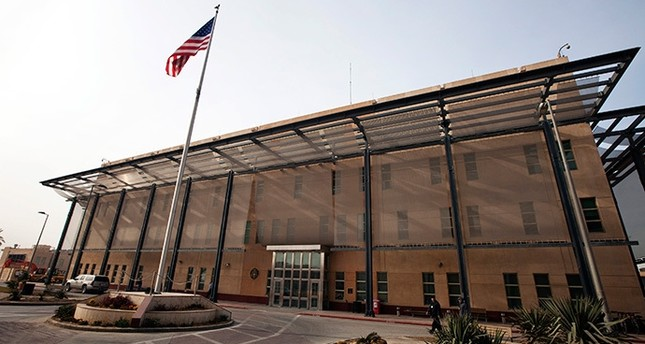 A U.S. flag flies in front of the Chancellery building inside the compound of the U.S. embassy in Baghdad. (REUTERS Photo)