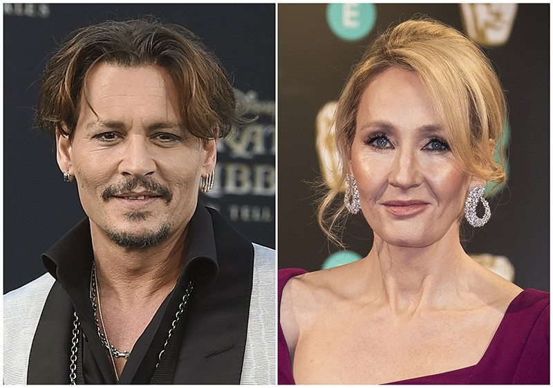 In this combination photo, Johnny Depp (L) appears at the LA premiere of ,Pirates of the Caribbean: Dead Men Tell No Tales, on May 18, 2017 and J.K. Rowling at the BAFTA Film Awards in London on Feb. 12, 2017. (AP Photo)