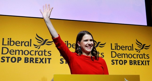 Jo Swinson reacts after being announced as the new leader of the Liberal Democrats party in London, Britain July 22, 2019. (REUTERS Photo)