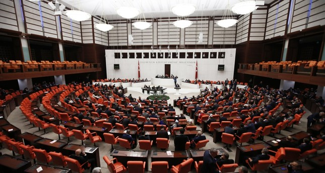 Lawmakers at work in the main chamber of the Turkish Parliament in Ankara.