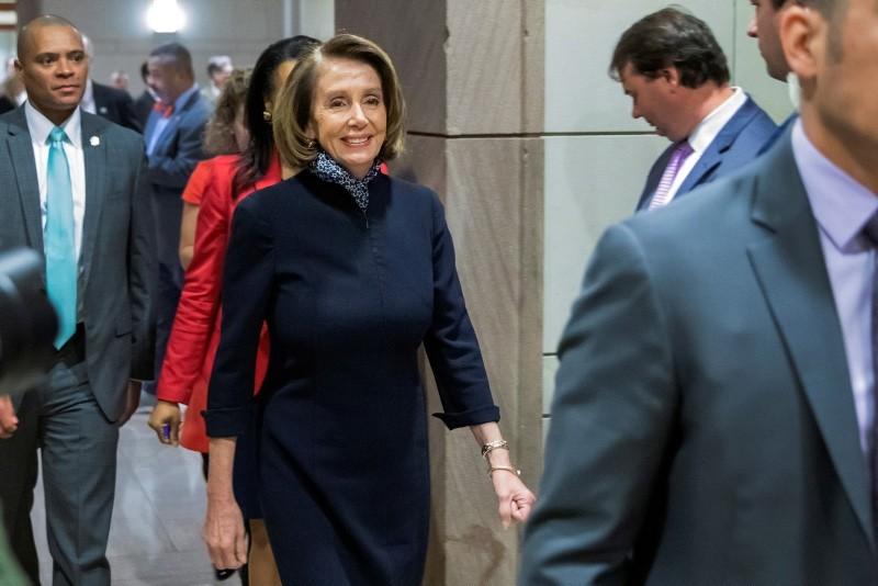 House Minority Leader Nancy Pelosi leaves the U.S. Capitol Visitors Center in Washington, D.C., USA, Dec. 13, 2018. (EPA Photo)