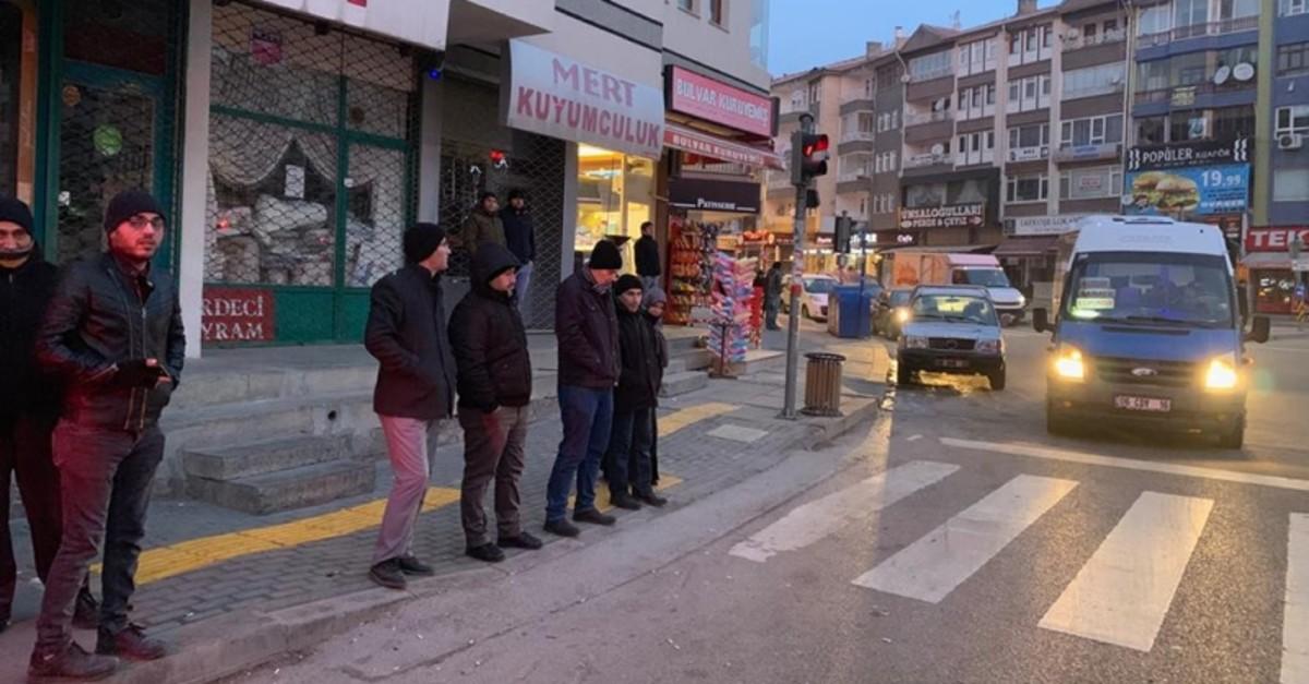 People wait outside after the magnitude 4.2 earthquake in Ankara (AA Photo)