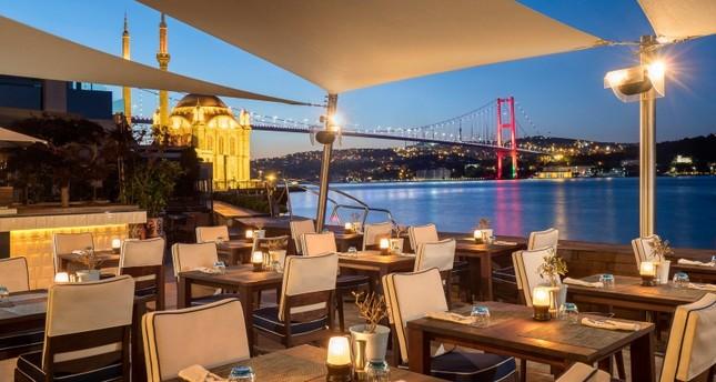 Istanbul's July 15 Martyrs Bridge is seen from the Et Cetera On the Bosphorus restaurant in the Radisson Blu Bosphorus Hotel in Ortaköy district. IHA Photo