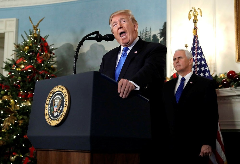 U.S. President Donald Trump speaks in the Diplomatic Reception Room of the White House, in Washington, D.C., U.S., Dec. 6, 2017. (AP Photo)