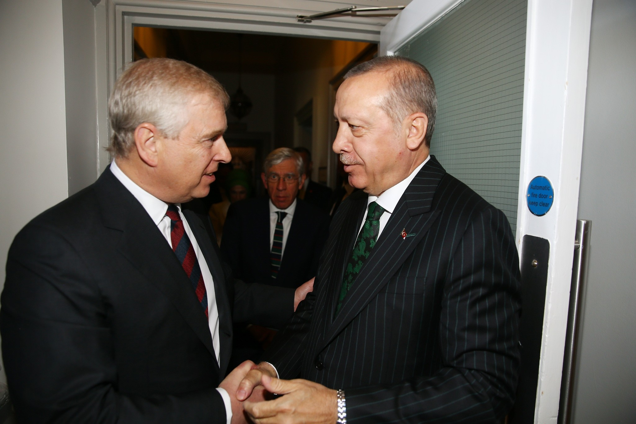 President Erdou011fan chats with Prince Andrew, Duke of York, at the Tatlu0131dil Forum, May 13.