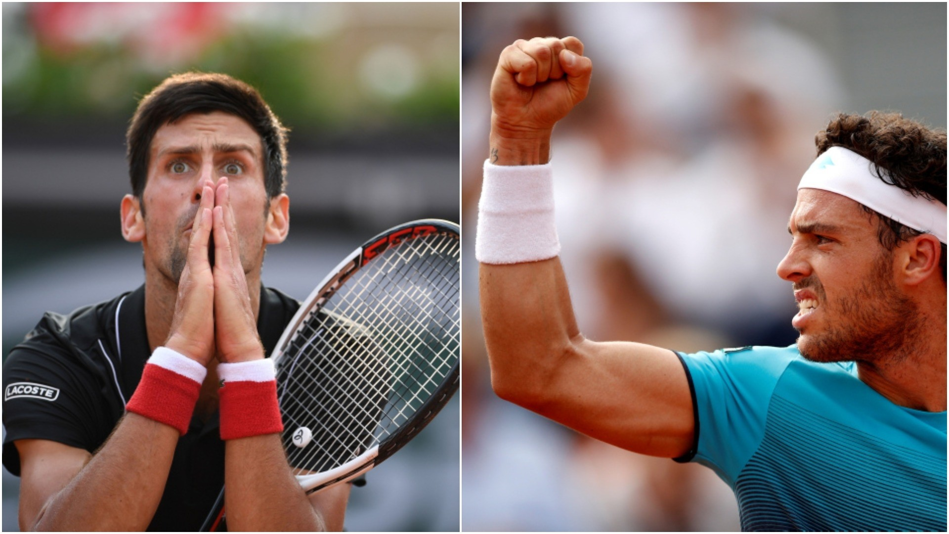 Djokovic reacts after missing a shot against Italy's Marco Cecchinato (R) in the tie break of the fourth set of their quarterfinal match at the French Open tennis tournament at the Roland Garros stadium in Paris, June 5, 2018. (EPA/AP Photos)