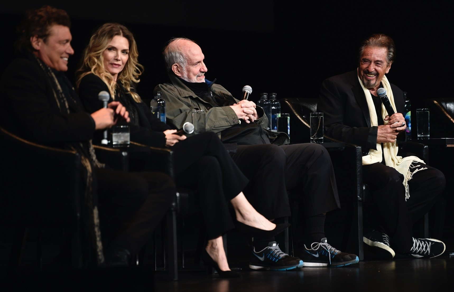 From left to right, actress Michelle Pfeiffer, director Brian De Palma and actor Al Pacino attend a 35th an- niversary screening u201cScarfaceu201d at the Beacon Theatre during 2018 Tribeca Film Festival.
