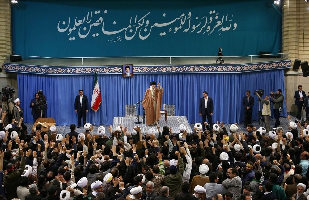 Iranian Supreme Leader Ayatolllah Ali Khamenei greets the crowd during a meeting in Tehran, Iran, Jan. 9.