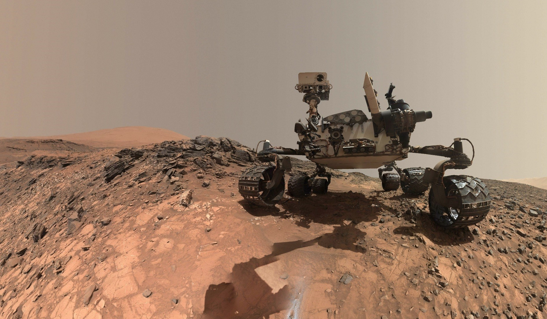 A low-angle self-portrait of Opportunity on lower Mount Sharp.