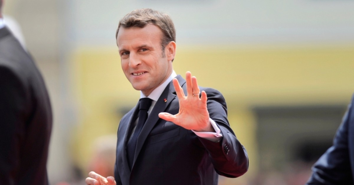 French President Emmanuel Macron arrives for an EU summit in Sibiu, Romania, Thursday, May 9, 2019. (AP Photo)