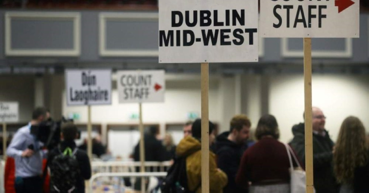 Signs direct the count staff before votes are counted in Ireland's national election, at a counting centre in Citywest, near Dublin, Ireland, February 9, 2020. (REUTERS Photo)