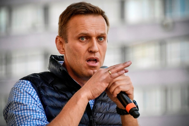 In this file photo taken on April 30, 2018 Russian opposition leader Alexei Navalny speaks during an opposition rally in central Moscow to demand internet freedom in Russia. (AFP Photo)
