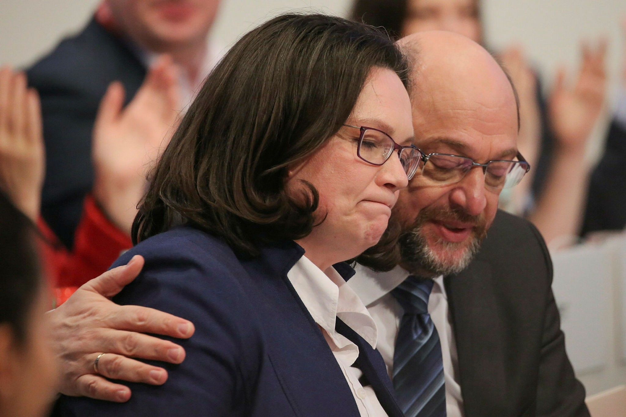 The leader of the Social Democratic Partyu2019s parliamentary faction, Andrea Nahles (L) and party leader Martin Schulz attend a party convention in Bonn, Jan. 21.