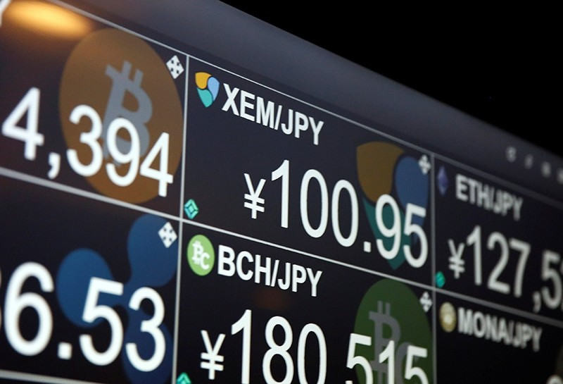 A monitor shows various cryptocurrencies' exchange rates against Japanese Yen at 'nem bar', where customers can pay with NEM coins, in Tokyo, Japan, Jan. 29, 2018. (Reuters Photo)