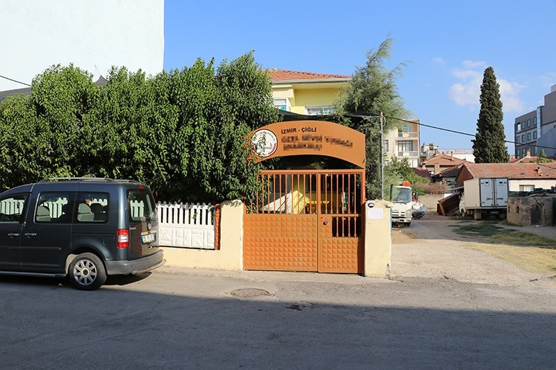 This photo shows a front view of the kindergarten Alperen Sakin, who died of suffocation after being trapped in a school shuttle, was going to in u00c7iu011fli district, Izmir, Turkey. (IHA Photo)
