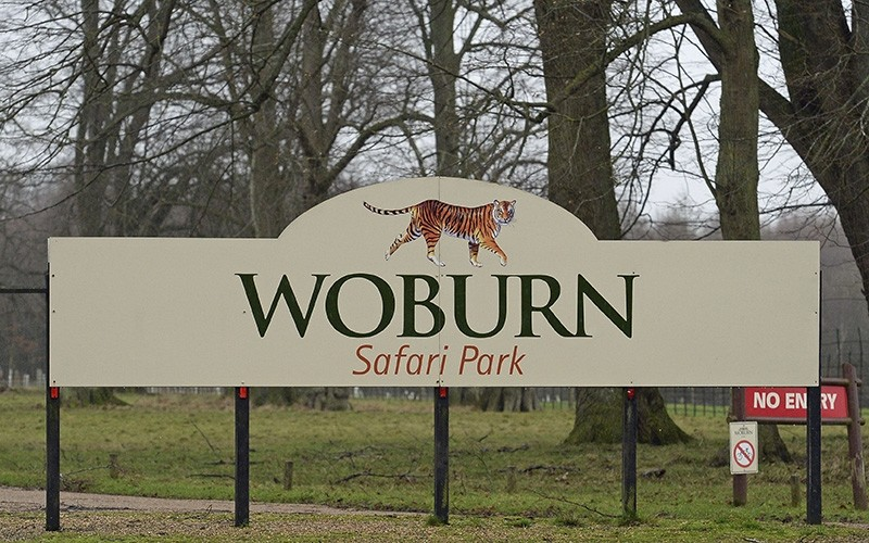 The sign for the  Woburn Safari Park in Woburn England (AP Photo)