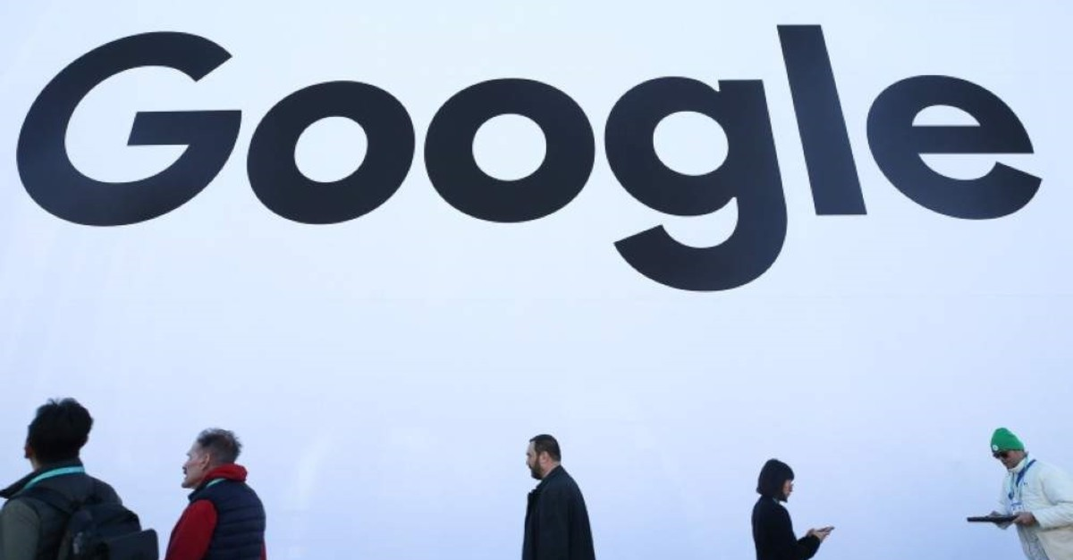 People walk past the Google pavilion at CES 2020 at the Las Vegas Convention Center on Jan. 8, 2020, in Las Vegas, Nevada. (AFP Photo)