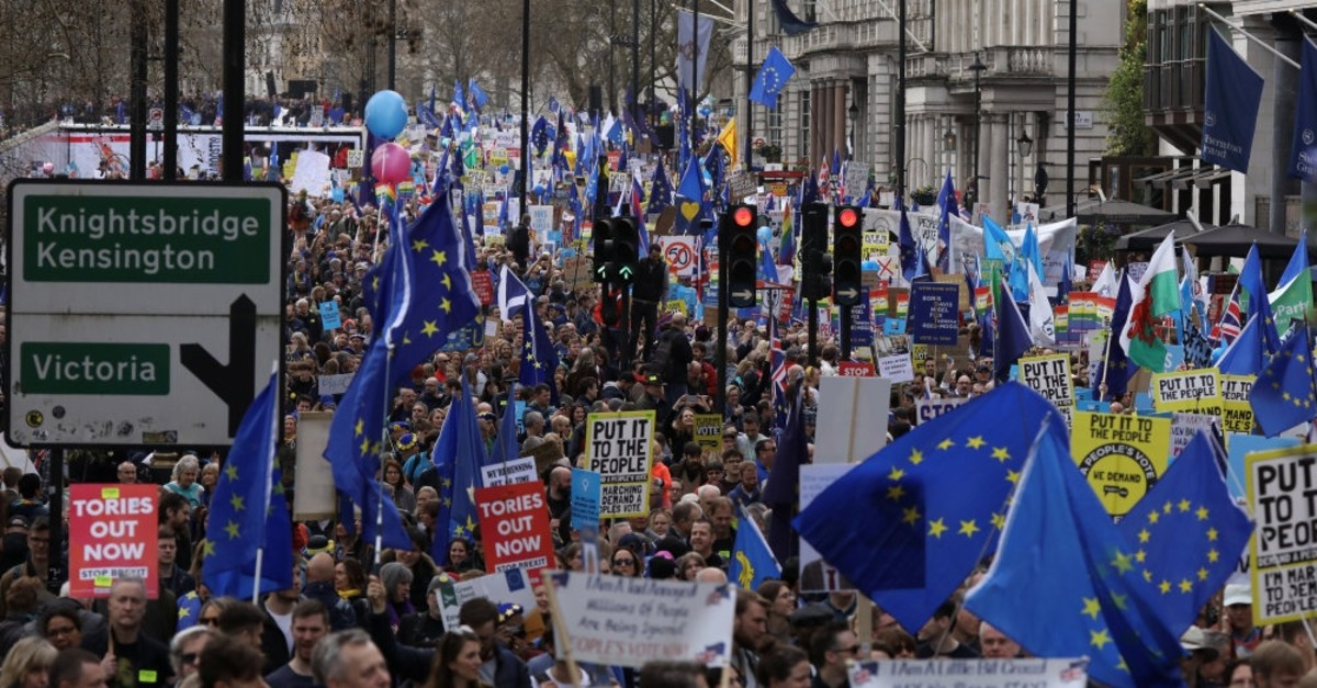 EU supporters, calling on the government to give Britons a vote on the final Brexit deal, participate in the ,People's Vote, march in central London, March 23, 2019.