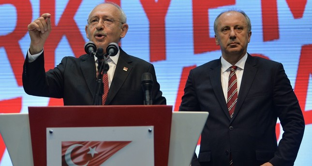 Kemal Kılıçdaroğlu (L), announcing İnce's name as CHP presidential candidate in early May. İnce received 30 percent of the votes in the presidential elections, surpassing the voter support for the CHP led by Kılıçdaroğlu by eight percentage.