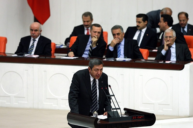 Deniz Bu00f6lu00fckbau015fu0131 speaks during a general assembly session at the Turkish parliament in this undated photo from 2008 (Sabah File Photo