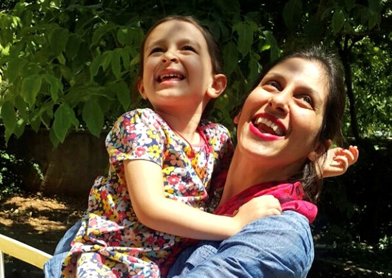 In this undated photo provided by the Free Nazanin Campaign, Nazanin Zaghari-Ratcliffe hugs her daughter Gabriella, in Iran.