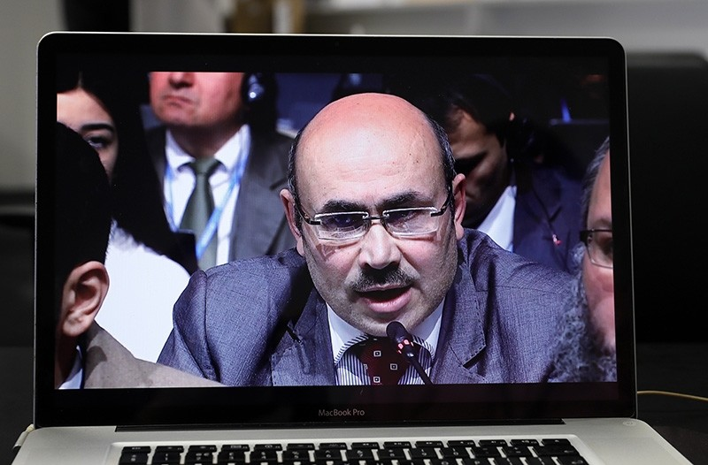 A re-live recording appears on a laptop screen showing Syria Minister of Local Administration and Environment Wadah Katmawi during the UN Climate Change Conference COP23 in Bonn, Germany, Nov. 8 2017. (EPA Photo)