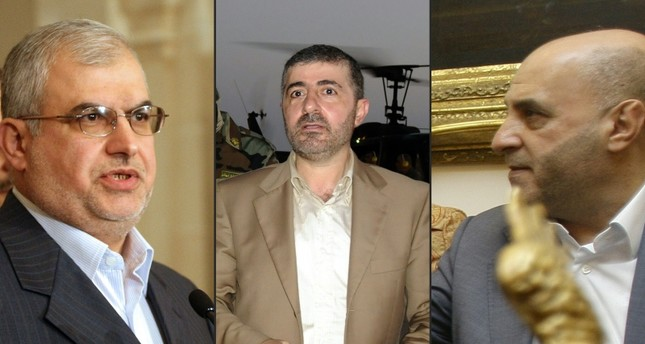 Photo compilation shows Muhammad Hasan Raad (L) addressing the media in Beirut on Sept. 24, 2008, Amin Sherri (R) attending a meeting in Beirut on Sept. 18, 2010, and Wafiq Safa (C) receiving prisoners released by Israel on July 16, 2008. (AFP)