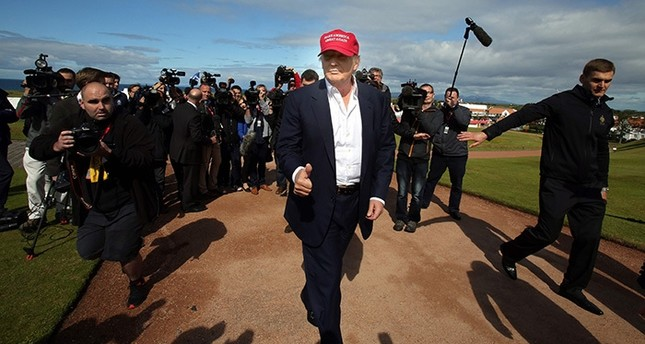 This file photo taken on July 30, 2015 shows US Republican presidential candidate Donald Trump arriving at the Women's British Open Golf Championships in Turnberry, Scotland, on July 30, 2015. (AFP Photo)