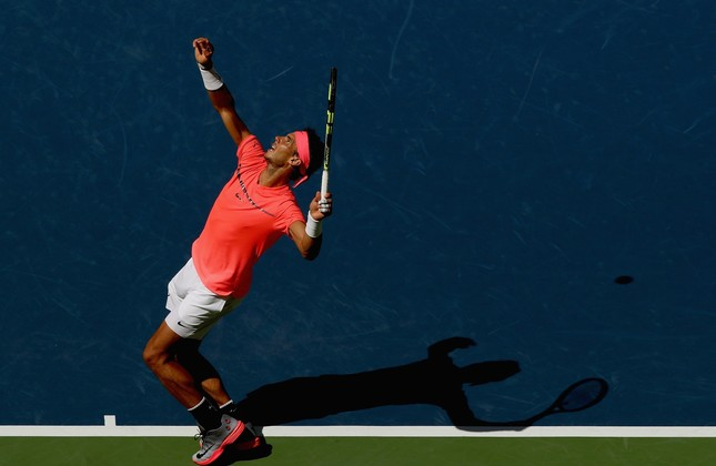 Rafael Nadal serves against Alexandr Dolgopolov of Ukraine during their fourth round Men's Singles match on Day Eight of the 2017 US Open at the USTA Billie Jean King National Tennis Center.