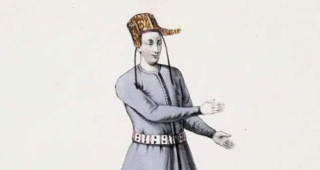"""A drawing of a mute servant in the Ottoman court, who had specific signs and hand movements to communicate with others or between them, which was called """"the language of the mutes."""""""
