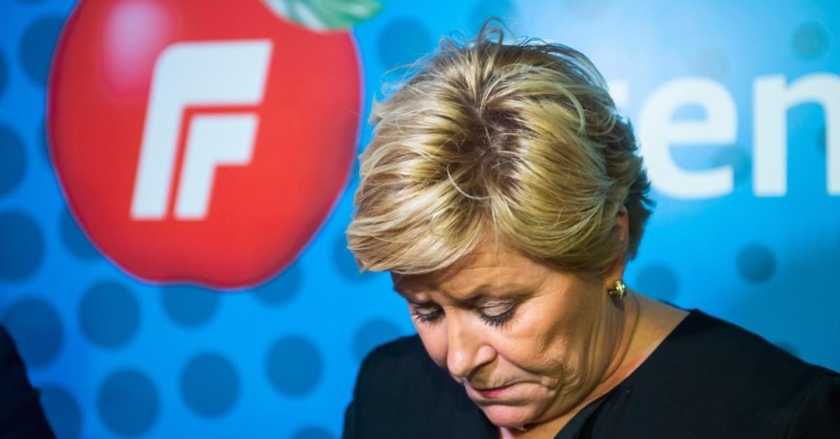 Norwegian Progress Party leader, Siv Jensen, attends a press conference in Oslo, Norway, Monday, Jan. 20, 2020. (Fredrik Varfjel, NTB scanpix via AP)