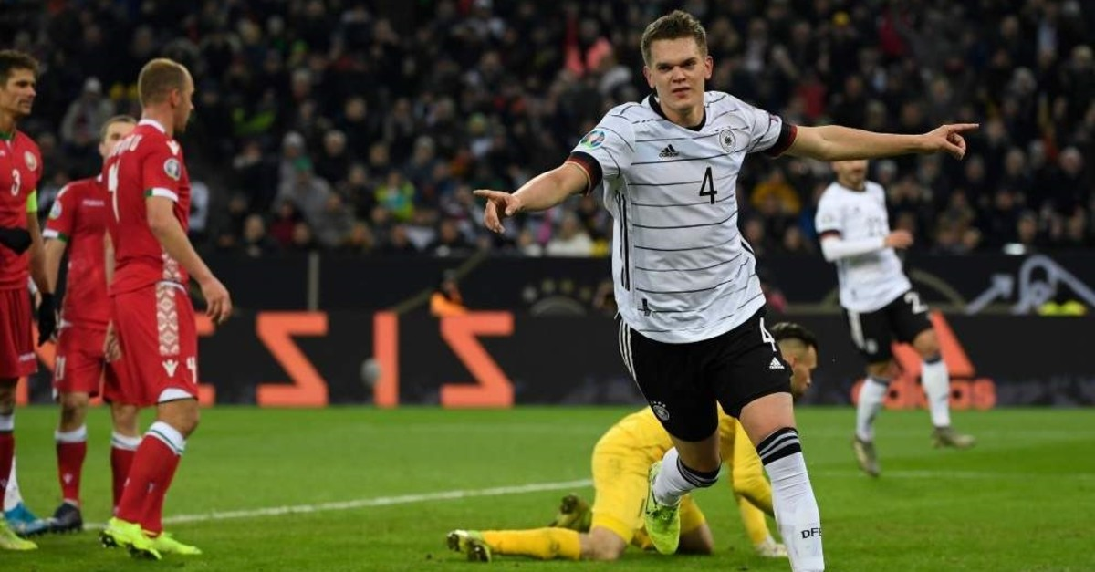Germany's Matthias Ginter celebrates after scoring during the match against Belarus, Nov. 16, 2019. (AFP Photo)