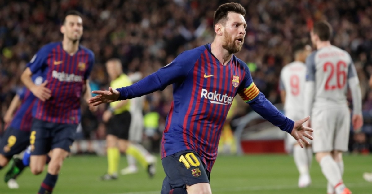 Barcelona's Lionel Messi celebrates after scoring his side's third goal during the Champions League semifinal, first leg, soccer match between FC Barcelona and Liverpool at the Camp Nou stadium in Barcelona, Spain, Wednesday, May 1, 2019. (AP Photo)